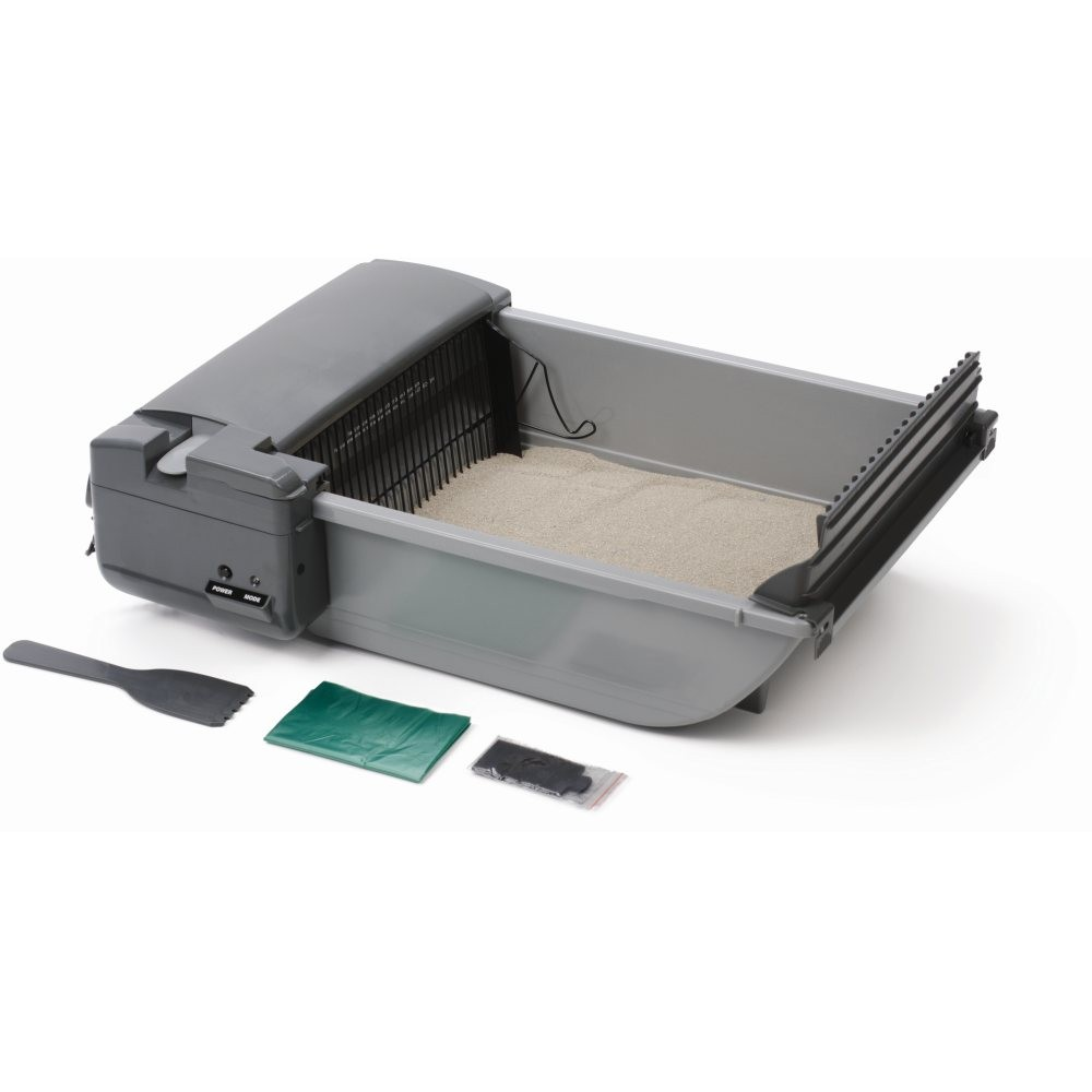 Our Pets Deluxe SmartScoop Self-Scooping Litter Box Gray 25.5
