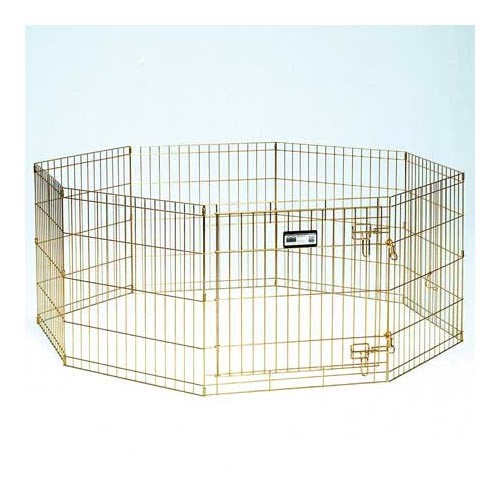 Midwest Gold Zinc Pet Exercise Pen 8 panels Gold 24