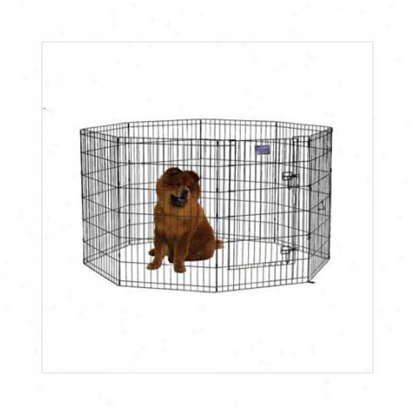Midwest Black E-Coat Pet Exercise Pen with Walk-Thru Door 8 Panels Black 24