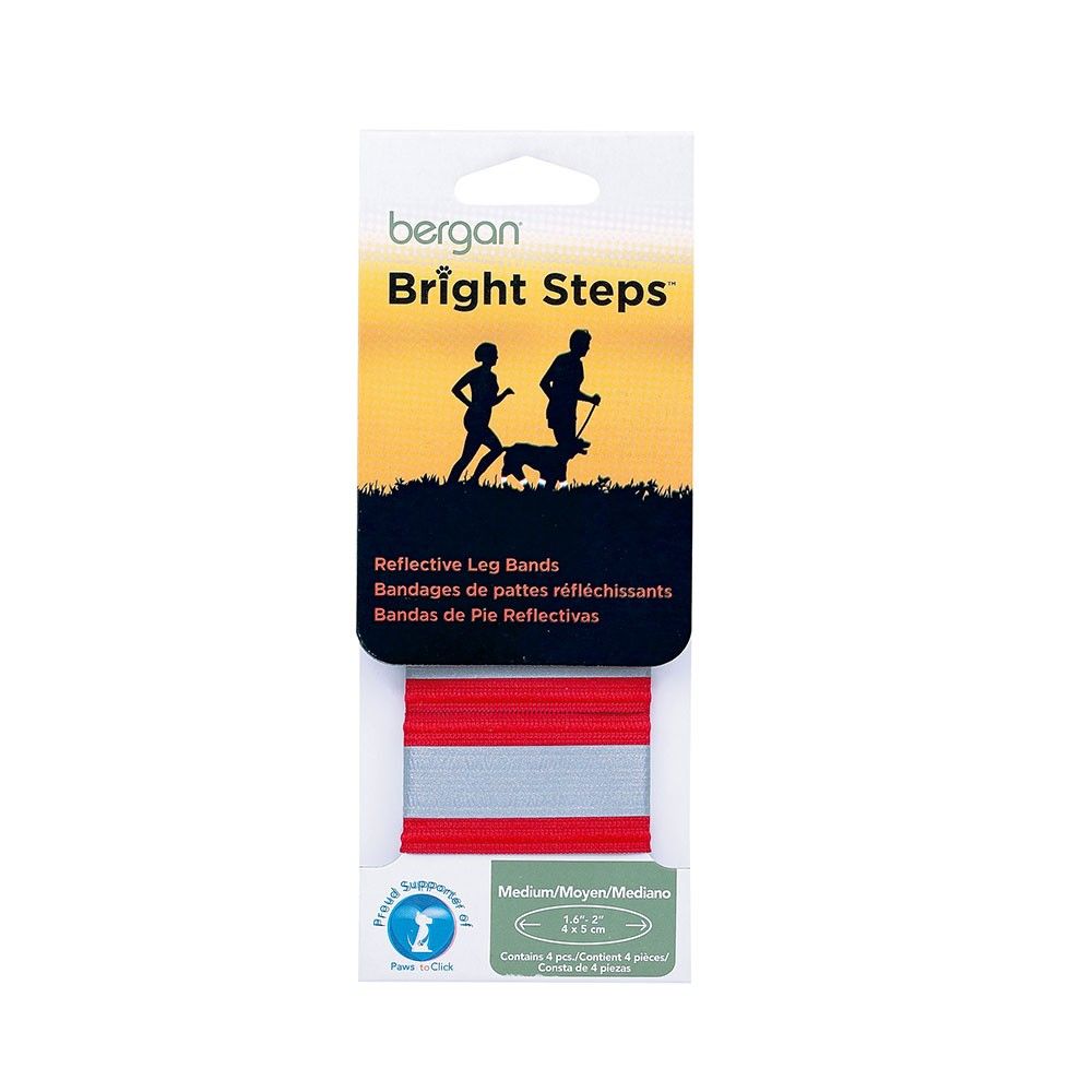 Bergan Bright Steps Reflective Leg Bands Medium Red