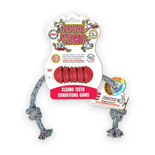 Kong Dental Kong with Rope Dog Toy Small Red 6.5