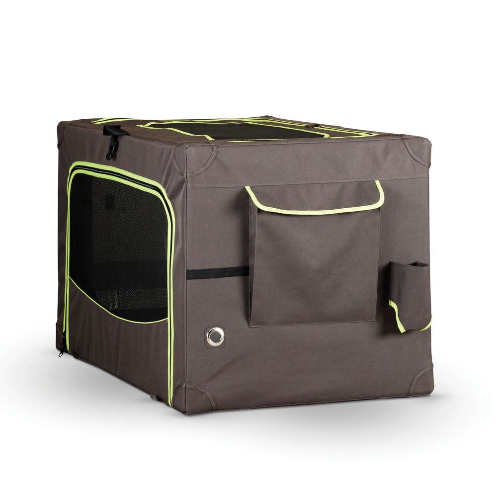 K&H Pet Products Classy Go Soft Pet Crate Medium Brown/Lime Green 29.92