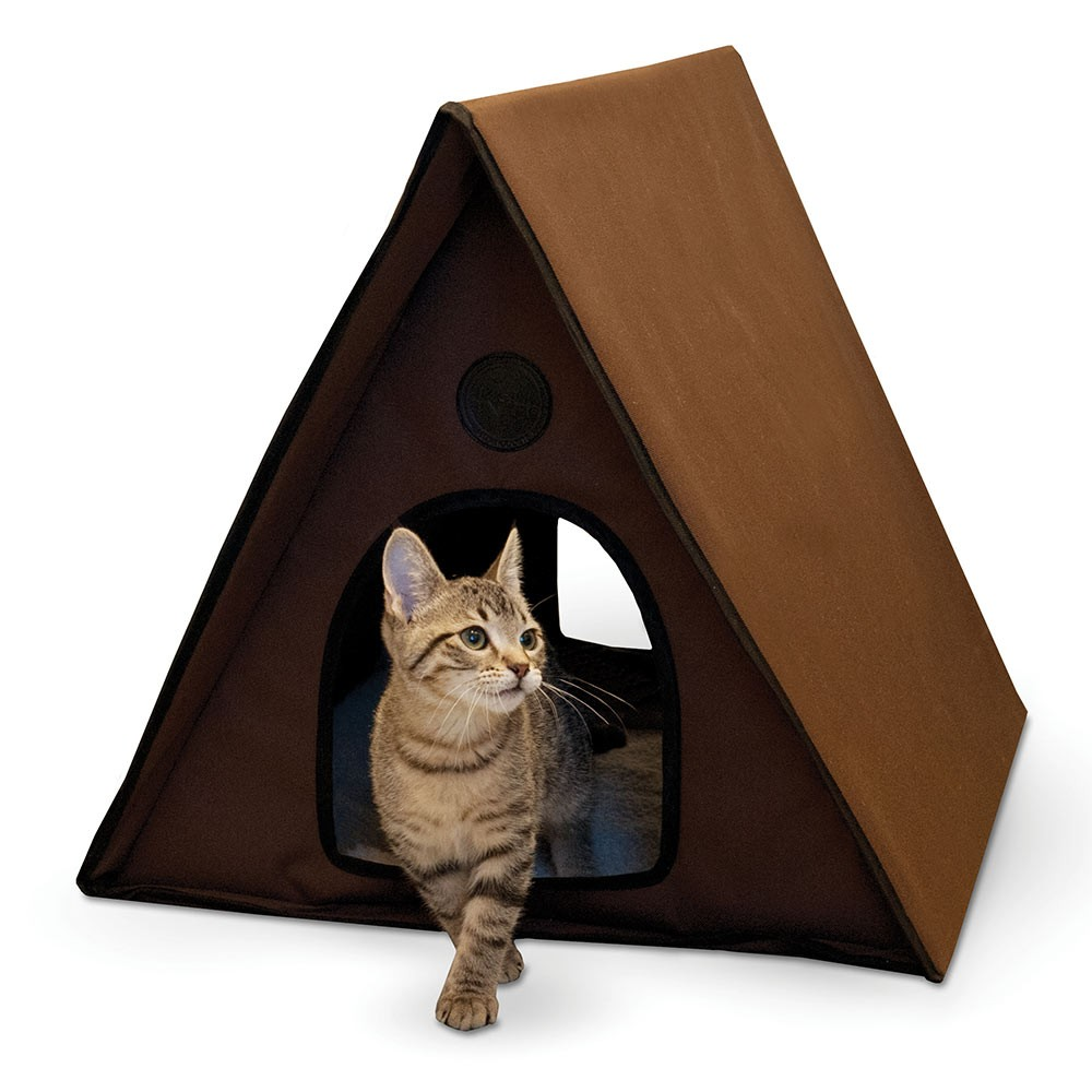 K&H Pet Products Outdoor Multiple Kitty A-Frame Unheated Chocolate 35