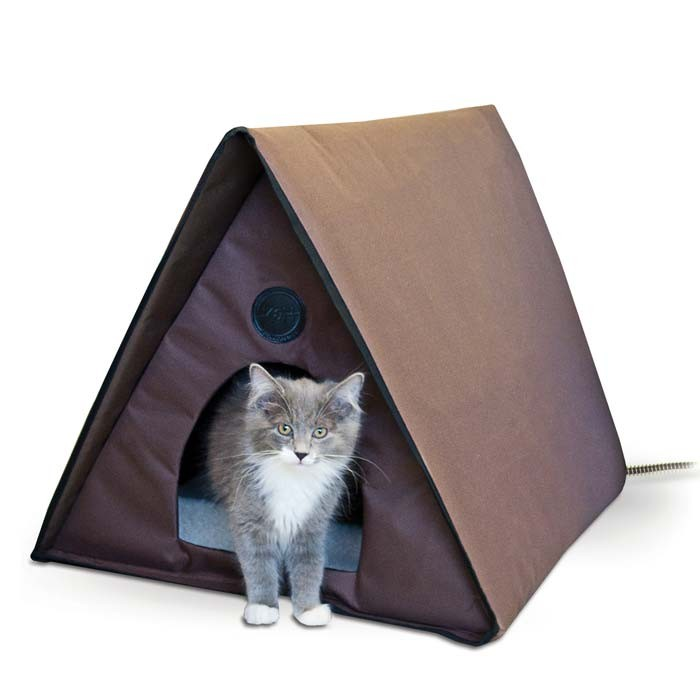 K&H Pet Products Outdoor Heated Multiple Kitty A-Frame Chocolate 35