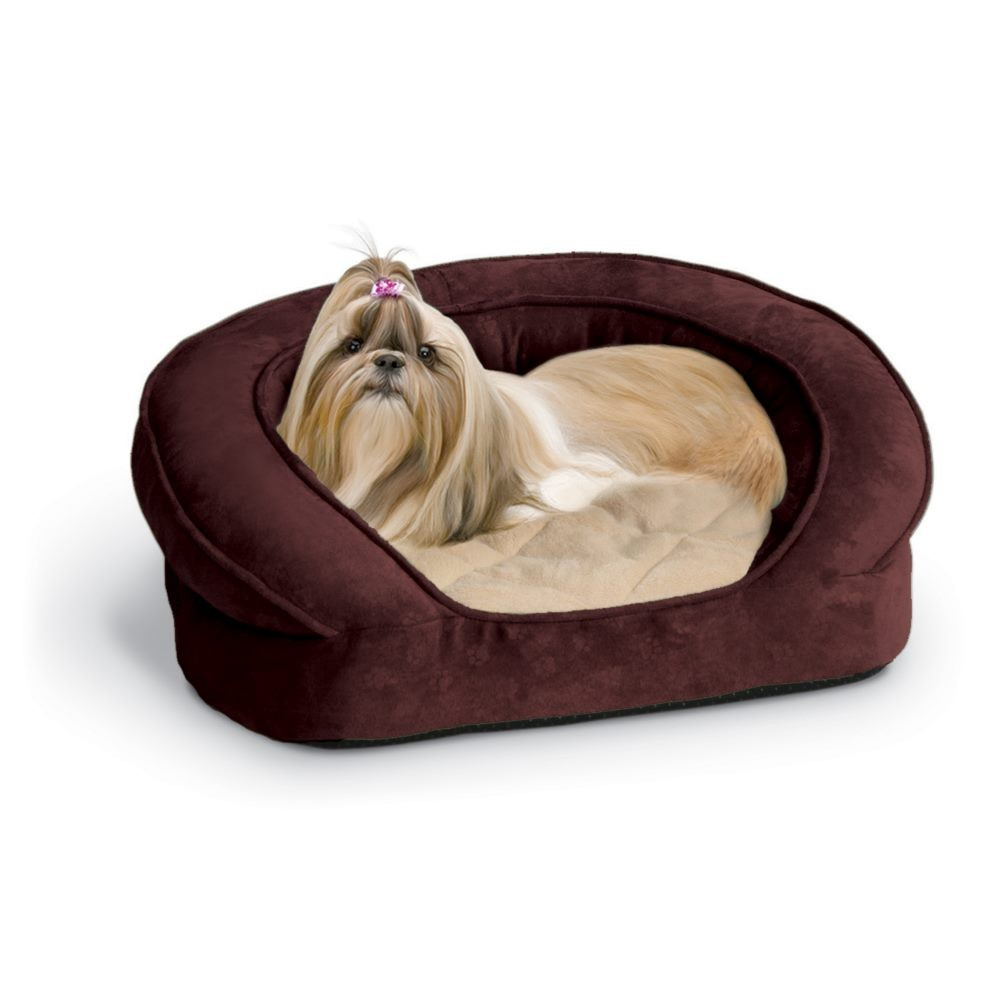 K&H Pet Products Deluxe Ortho Bolster Sleeper Pet Bed Small Eggplant 20