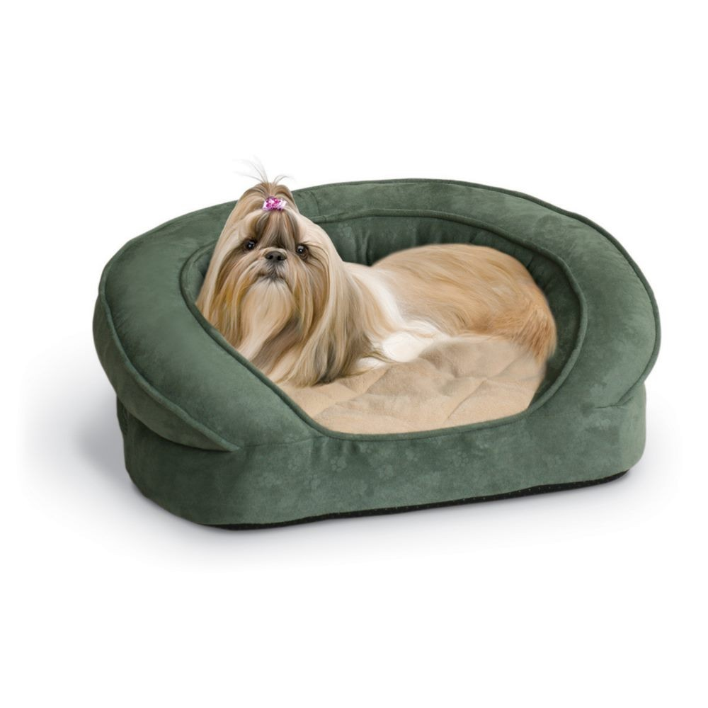 K&H Pet Products Deluxe Ortho Bolster Sleeper Pet Bed Medium Green 30