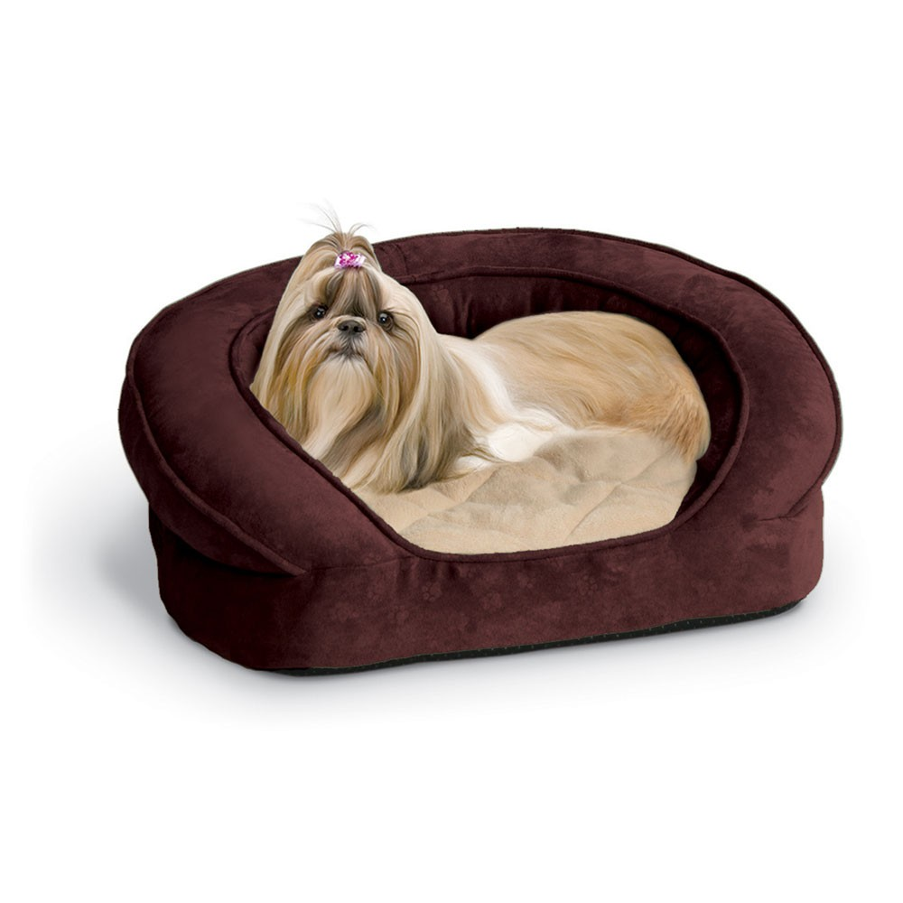 K&H Pet Products Deluxe Ortho Bolster Sleeper Pet Bed Medium Eggplant 30