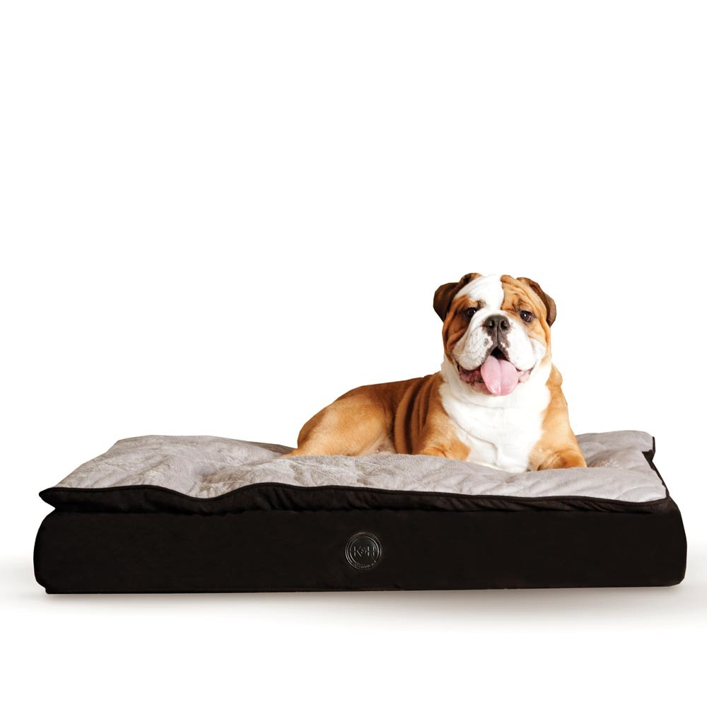K&H Pet Products Feather Top Ortho Pet Bed Large Black / Gray 40