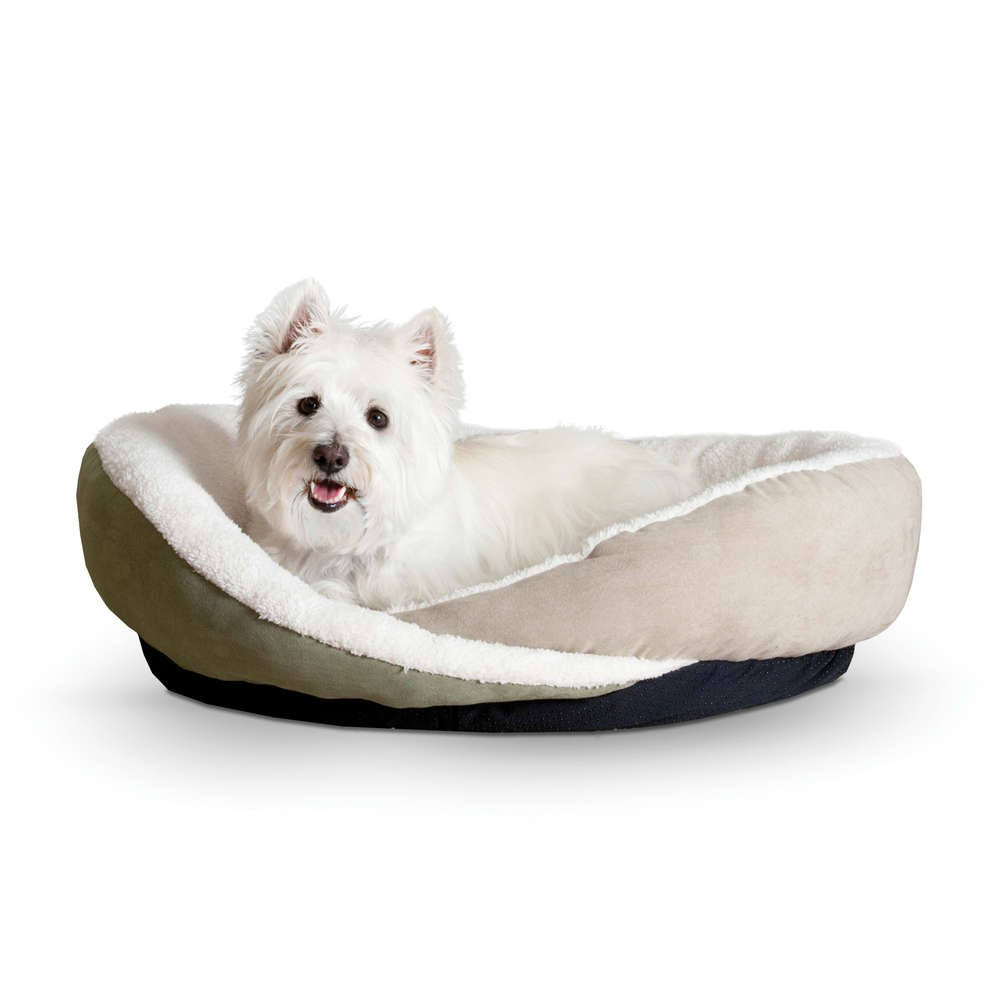 K&H Pet Products Huggy Nest Pet Bed Large Green / Tan 36