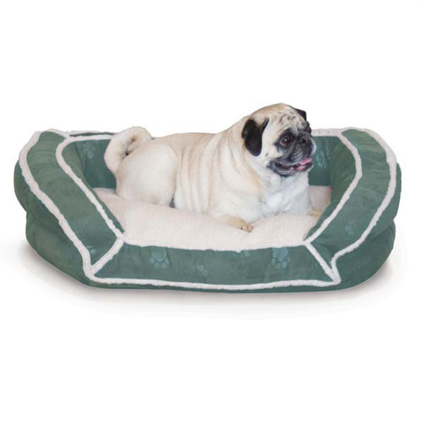 K&H Pet Products Deluxe Bolster Couch Pet Bed Small Green 21
