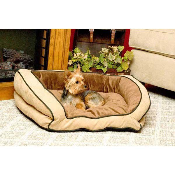 K&H Pet Products Bolster Couch Pet Bed Large Mocha / Tan 28