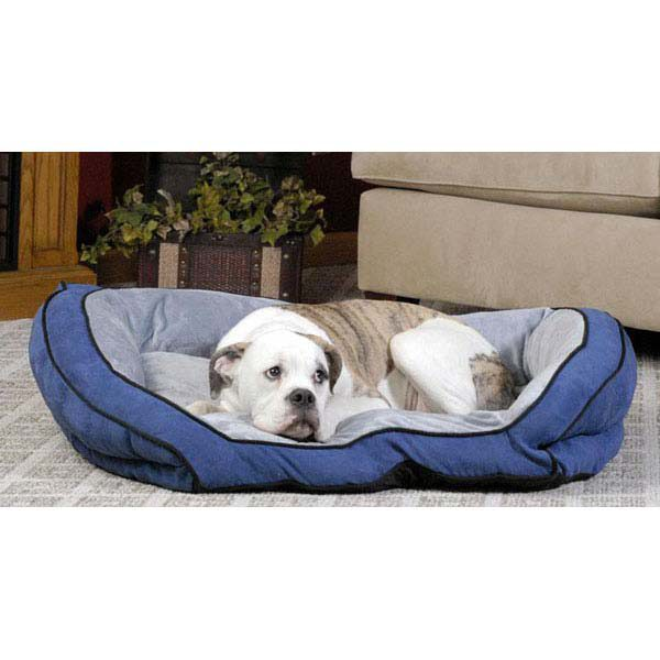 K&H Pet Products Bolster Couch Pet Bed Large Blue / Gray 28