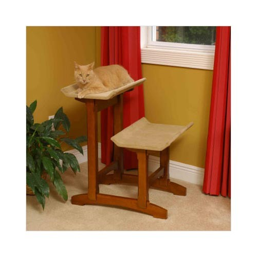 Craftsman Series Double Seat Cat Perch Wood 20.5