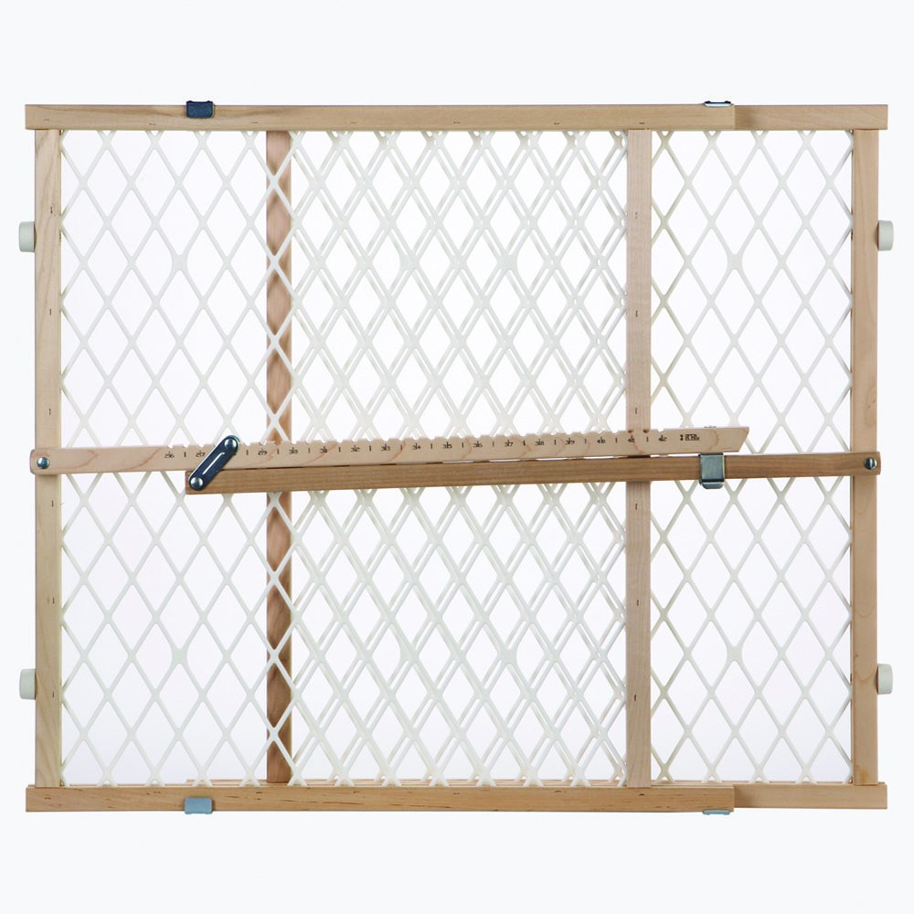 North States Easy Adjust - Diamond Mesh Pet Gate White, Wood 26.5