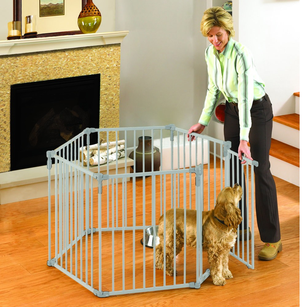 North States 3-in-1 Metal Superyard Pet Pen 6 Panels White 24