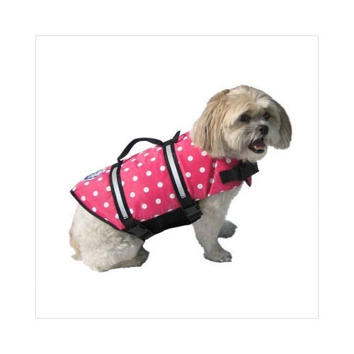 Paws Aboard Dog Life Jacket Large Pink Polka Dot
