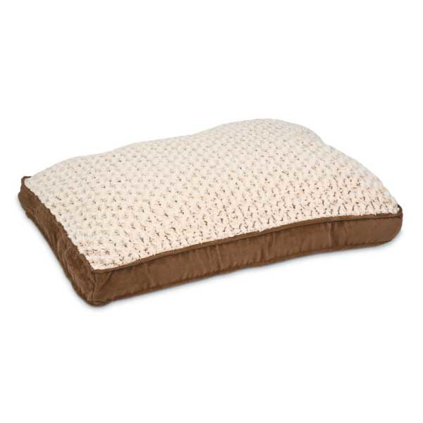 Petmate Deluxe Pillow Dog Bed with Gusset Suede / Swirl Plush Brown / White 36