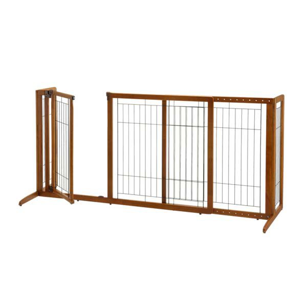 Richell Deluxe Freestanding Pet Gate with Door Medium Brown 61.8 - 90.2