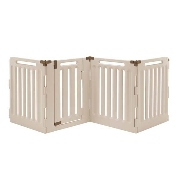 Richell Convertible Indoor/Outdoor Pet Playpen 4 Panel Tan / Mocha 33.1