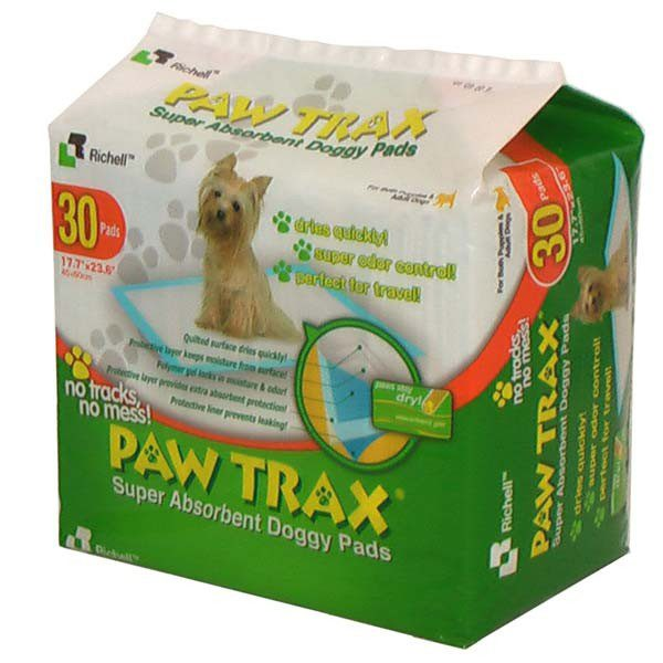 Richell Paw Trax Pet Training Pads 30 Count White