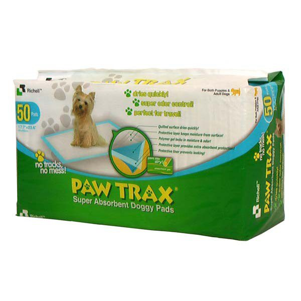 Richell Paw Trax Pet Training Pads 50 Count White